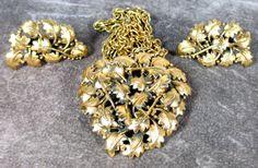 Vintage  Leaf Pendant Necklace Earrings by MickisVintageJewelry, $89.95
