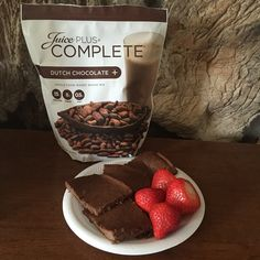 Juice Plus Complete brownies. Yum!! •1 scoop Dutch Chocolate Complete •1/2cup unsweetened applesauce •1 egg •425 for 15min