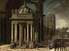 Jacobus Ferdinandus Saey A Classical Portico with Fountain, Elegant Company on a Palatial Terrace with Formal Gardens oil on canvas, 26-3/4 x 35-3/8