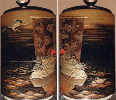 Case (Inrô) with Design of Treasure Boat on Water with Rice Bales,Crane and Tortoise  Period: Edo period (1615–1868) Date: 19th century Culture: Japan Medium: Lacquer, roiro, fundame, gold and coloured hiramakie, nashiji, aogai; Interior: nashiji and fundame