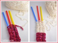 Multicolored straw knitting tutorial