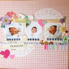 赤ちゃん3人並べてみました。 by:acoconco #スクラップブッキング