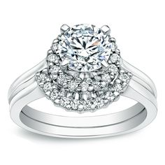 Auriya 14k Gold 1ct TDW Round Halo Diamond Bridal Ring Set (I-J, I1-I2) (Yellow Gold - Size 6), Women's, White H-I