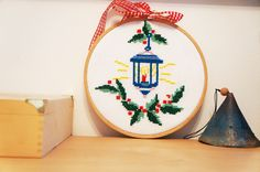 Christmas embroidery hoop decoration
