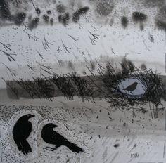 un bordado de pájaros en la niebla el arbusto