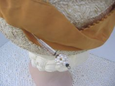 1940's Open Crown Straw Hat with Hat Pin by by BrionyLodgeVintage