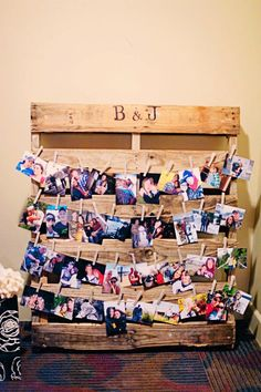 pictures of me and jeff.  row for each of us when we were little and then pics of us together.  Too Rustic?