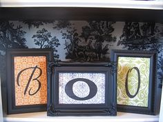 Cute $Dollar store frames, painted black with scrapbook paper and different letters!