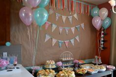 Adorable Dessert Table - love the scrap fabric banner + bunting over the tablescape!