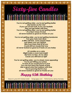happy 60th birthday poems | ... 65th birthday song for a man sixty five candles happy 65th birthday