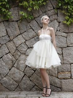 ♥ 2012 Spring Style A-line Strapless Ruffles  Sleeveless Short / Mini Organza  Dress