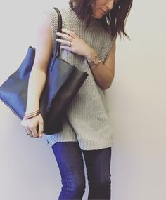 Oak and fort sleeveless sweater. Aritzia auxiliary bag, Aritzia 3x3 skinny jeans