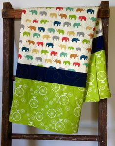 Baby Quilt Organic Baby Quilt Modern Elephant Just by CoolSpool