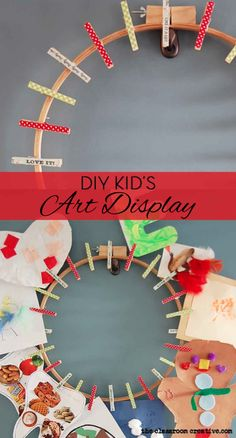 DIY kid's art display. This is an easy way to display all those exciting projects your children make!