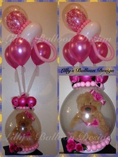 Stuffed balloon gift for baby shower. Very well done, with the balloon bouquet and pacifier on top.