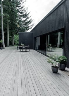 Jutland, Denmark - Down by the river Black Architecture, Architecture Details, House Cladding, House Deck, Forest House, Modern Barn, House Extensions, Industrial House, Cabins In The Woods