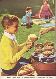 Some ad copy doesn't even need a snarky comment. It's just awful enough on its own. Summer Summer Summertime, Retro Recipes, Backyard Bbq, What To Cook, Vintage Ads, No Frills, Hamburger, Grilling, Good Food