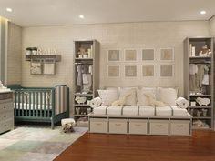 Este quarto de gêmeos meninos, projetado pela Triplex Arquiteturapara a mostra Q&E Bebê, ganhou uma decoração clean em cinza, com muitos bichinhos. Os
