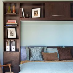 Shelves and cubbies headboard