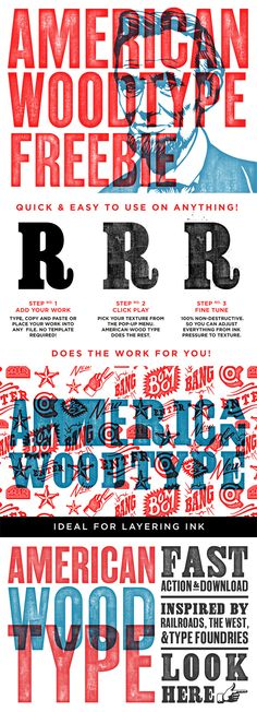 We just released a new Photoshop action called American Wood Type. We wanted to get this in as many hands as possible so we're offering a sample version with 3 of the effects as a freebie. Enjoy!