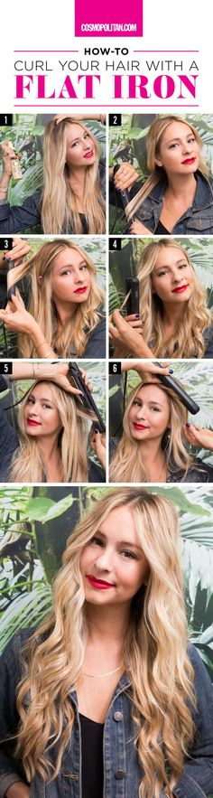 "THE RIGHT WAY TO CURL YOUR HAIR WITH A STRAIGHTENER: If you roll your eyes at the thought of curling your hair with a flat iron, claiming ""it's just too hard to do,"" this step-by-step tutorial (and video!) by celebrity hairstylist and Scünci ambassador Laura Polko will help you perfect the technique. Click through for the easy and complete hair curling tutorial."