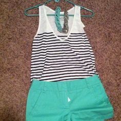 Loove my two faves: stripes & aqua Passion For Fashion, Love Fashion, Fashion Outfits, Cute Summer Outfits, Cute Outfits, Swagg, Chic, Spring Summer Fashion, Dress To Impress