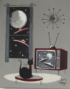 El Gato Gomez Painting Retro 60s Mid Century Vintage Outer Space SHIP Sci Fi TV | eBay