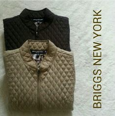 "Quilted Jackets Bundle of two pretty quilted jackets , one khaki and one dark brown. 100% polyester. Very warm but not bulky. Front zipper closure. Length 21.5"" Bust 38"" Sleeve 22""  Excellent condition! Briggs New York Jackets & Coats"