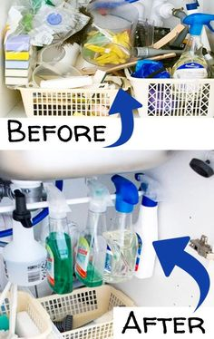 Kitchen Sinks Remodeling Organize under the kitchen sink - before and after pictures and under sink organizing ideas gettingorganized Kitchen Sink Organization, Sink Organizer, Bathroom Organization, Organized Kitchen, Bathroom Storage, Organizers, Storage Organization, Kitchen Sink Faucets, Getting Organized