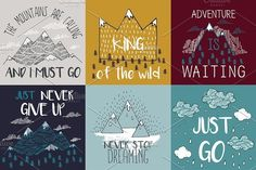 Travel illustrations with quotes by Librebird on @creativemarket