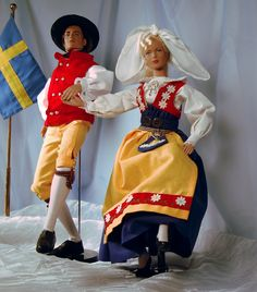 Tonner dolls dressed in Swedish National costume.