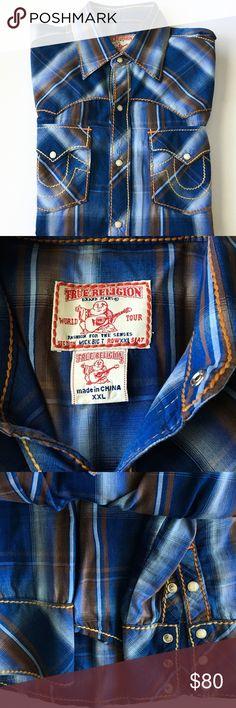 True Religion Men's Shirt XXL Plaid Button Men's True Religion XXL Button down Fit Long Sleeve Shirt True Religion Shirts Casual Button Down Shirts