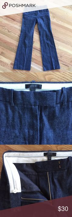 Tailored JCrew Wide leg Jeans Super chic, wide leg stretch denim J.Crew tailored jeans. Please have gorgeous menswear details and the fit is absolutely beautiful they come a little bit mid to high waisted and they're a beautiful wide straight-line cut J. Crew Jeans Flare & Wide Leg
