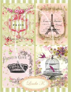 Collage SheetParis Pour Les Amis by lindakdesign on Etsy, $4.25
