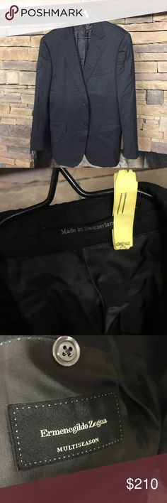 """Ermenegildo Zegna Multiseason Jacket $2,119 MSRP The used price for this jacket ranges fro $350-$700 on eBay. I'm asking even less. The only downside to this jacket is that you should be handy with needle and thread to replace the buttons. (See photo) Other than that it's in great condition. This is a steal! Shoulders: 20"""", chest: 42R, waist: 19"""" (slim), arm: 24"""", neck to bottom: 28"""" Ermenegildo Zegna Suits & Blazers Suits"""