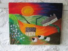 felt art landscape, sunrise