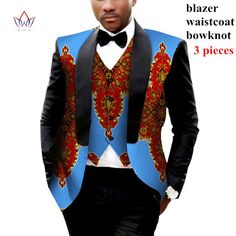 Mens African Clothing Two Pieces Set Mens Jackets and Coats Mens Blazer Slim Fit Blazer Jacket Dashiki Men Plus Size African Inspired Fashion, African Print Fashion, Africa Fashion, Fashion Prints, Dashiki Shirt, Traditional African Clothing, Traditional Outfits, Moda Afro, African Wear