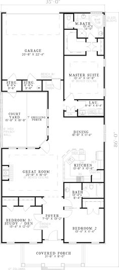 Great for a narrow lot and enjoys an awesome courtyard with privacy wall - plan 055D-0250 - houseplansandmore.com