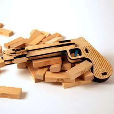 Fling Blocks With This Laser-cut Jenga Pistol