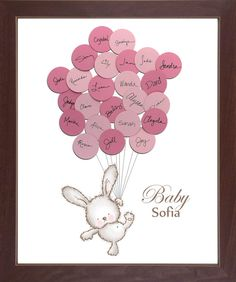 Baby Bunny Rabbit Baby Shower Guest Book by SayAnythingDesign