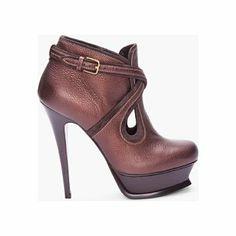 Yves Saint Laurent Espresso Tribute Ankle Boots for Women | SSENSE