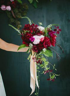 berry hued bouquet   via: green wedding shoes