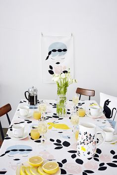 Polkka Jam: Huvila collection – Polkka Jam for House // I love the cat ; Party Table Decorations, Scandinavian Home, Eclectic Decor, Clean Design, Home Textile, Surface Design, Home And Living, Finland, Printing On Fabric