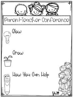 This parent-teacher conference sheet is set up so the teacher can discuss the students strengths, what they could improve upon, and how parents can help their student improve. This is a great way to have a positive and effective conference. Parent Teacher Conference Forms, Parent Teacher Communication, Parent Involvement Ideas, Parent Notes, Parent Teacher Meeting, Family Communication, Teacher Forms, Student Teacher, First Grade Classroom