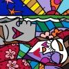 """Romero Britto's """"Good Morning"""" 2009, Framed print canvas Hand embellished by Romero Britto 16"""" x 20"""" Edition of 100. Learn more about Romero Britto and Florida (The Sunshine State) at: www.floridanest.com"""