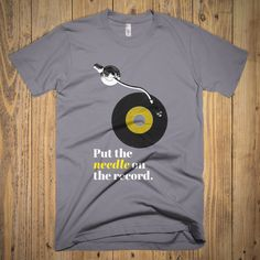 Vinyl Lover T-Shirt - Put the Needle on the Record - 45 rpm - 33 - Turntable - DJ - Audiophile - Modern Vintage - Typography - Hip-Hop Factory Records, Vintage Typography, Cotton Shorts, Lovers Art, American Apparel, Poster Prints, Modern, Mens Tops, T Shirt