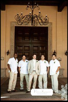 Groomsmen in white linen