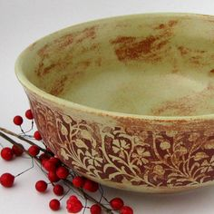 Stoneware Serving Bowl - 21 oz - Hand Thrown - Green Vines Series from JustMare, Hand Built and Wheel Thrown Stoneware Pottery