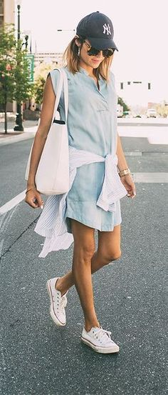 cute summer outfit: dress sneakers bag