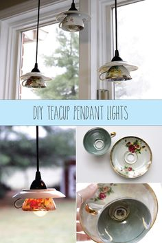 How to recycle, repurpose, and upcycle old teacups! So cute! DIY Teacup Pendant Light Shades